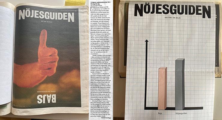 Omslag och löpsedel för Nöjesguiden #9, 2000.